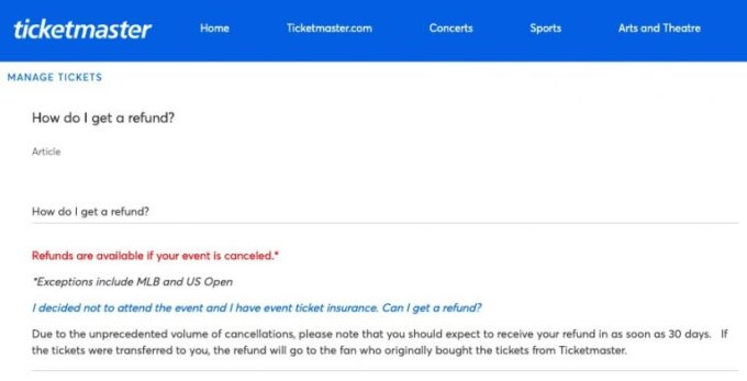 Ticketmaster's Updated Policy on Refunds Is Causing a Lot of Controversy